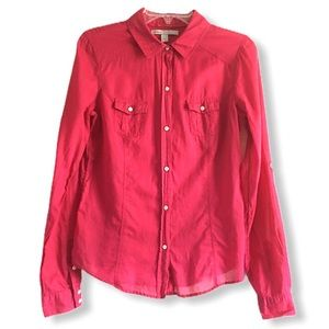 Old Navy Red Button Down Semi-Sheer Shirt Med Tall